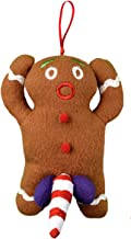Tekky Naughty Dirty Talking Gingerbread Man Christmas Tree Ornament and Gag Gift, Tan