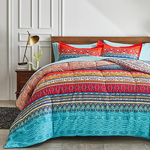 Flysheep Bed in a Bag 7 Pieces King Size, Colorful Bohemian Style Tribal Blue n Red Printed, Reversible Bed Comforter Set (1 Comforter, 1 Flat Sheet, 1 Fitted Sheet, 2 Pillow Shams, 2 Pillowcases)