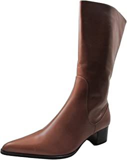 DA'VINCI 4094 Women's Italian Leather Dress/Casual Low Squre Toe Boot, Brown Size 38