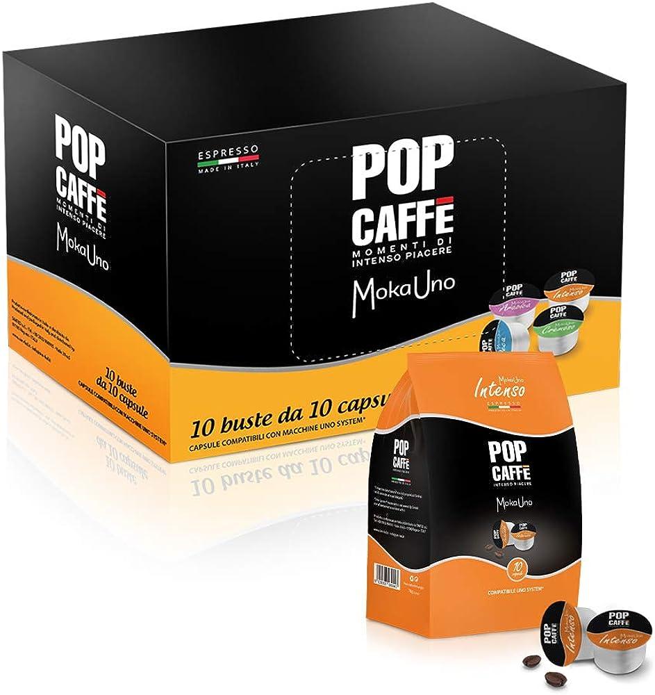 Pop caffe` moka 1, miscela intenso, 100 capsule compatibili con 1 system, illy e kimbo
