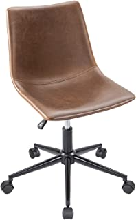 Furmax Mid Back Task ChairBrown Leather AdjustableSwivelOfficeChair BucketSeat Armless Computer Chair Modern Low Back Desk Conference Chair