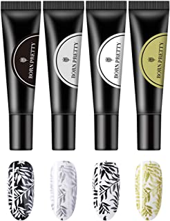 BORN PRETTY 8ml Stamping Gel Black White Pink Soak Off Nail Art UV Gel Polish for Nail Stamp Plate 4 Colors