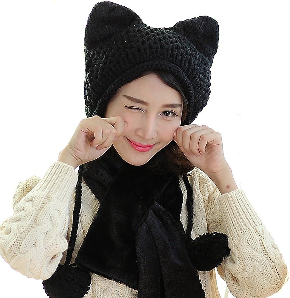 BIBITIME Women's Hat Cat Ear Crochet Braided Knit Caps Warm Snowboarding Winter