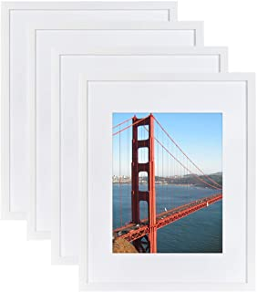 4 Pack 16x20 Frames, Display 11x14 Photo with Picture Mat, Picture Frames Made of Solid Wood for Wall Mounting, Mounting H...