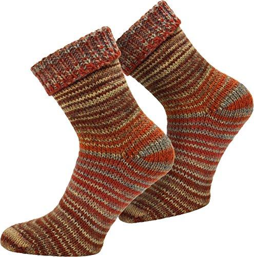 normani 2 Paar Wollsocken Skandinavien-Style wie handgestrickt, mit Umschlag für Damen und Herren Farbe Orange Größe 43/46