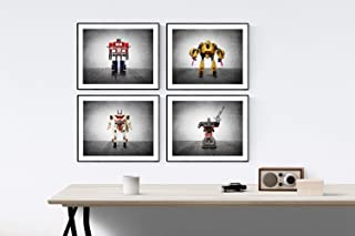Transformer Prints Set of 4 UNFRAMED photos or canvas, Transformer themed Wall art for boys, Vintage matchbox cars, multiple sizes available, perfect for your kids room or nursery walls
