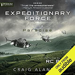 Paradise     Expeditionary Force, Book 3              Auteur(s):                                                                                                                                 Craig Alanson                               Narrateur(s):                                                                                                                                 R.C. Bray                      Durée: 15 h et 53 min     471 évaluations     Au global 4,7