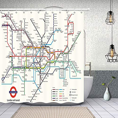 NYMB Map Decor, City Subway of London Rail Transit Polyester Fabric Waterproof Map Bath Curtain, 69X70in, Shower Curtain Hooks Included