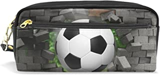 ALAZA Soccer Crack Pencil Case Zipper PU Leather Pen Bag Cosmetic Makeup Bag Pen Stationery Pouch Bag Large Capacity