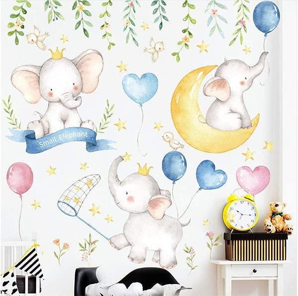 LJLQ Lovely Elephant Balloon Wall Stickers Kids Room Bedroom Cartoon Animals Moon Wall Stickers Kindergarten Cute Decoration