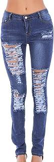 RXF Pantalones Vaqueros para Mujer Popular Hole Slim Slim Blue Low Waist Pants (Color : Azul, Tamaño : XL)