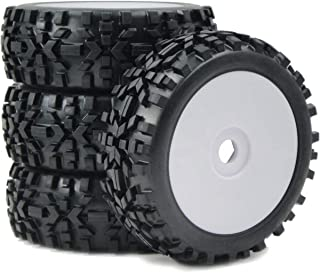 4pcs 1/8 RC Off-Road Buggy Badland Tires All Terrain Tyres & Hex 17mm Wheels for RC 1:8 Buggy Black, White