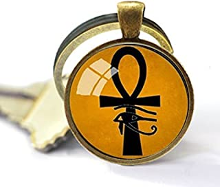 Ancient Eye of Horus Ra Ankh Keychain Cross of Life Keychain Egyptian Collection Glass Dome Amulet Jewelry