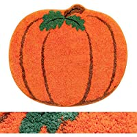 RORA Non-Slip Washable Orange Pumpkin Halloween Bath Rug