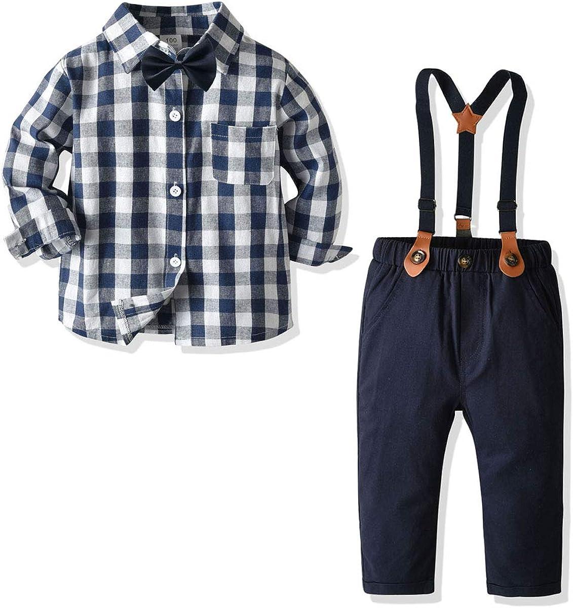 Little Boys Gentleman Set Baby Boys Button Down Outfit Long Sleeve Shirt+Suspenders Pants+Bow Tie 4Pcs Set 2-7Y