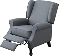 Recliner Chair Armchair Single Sofa Padded Fabric Couch Lounge Recline Adjustment Living Room Furniture Grey