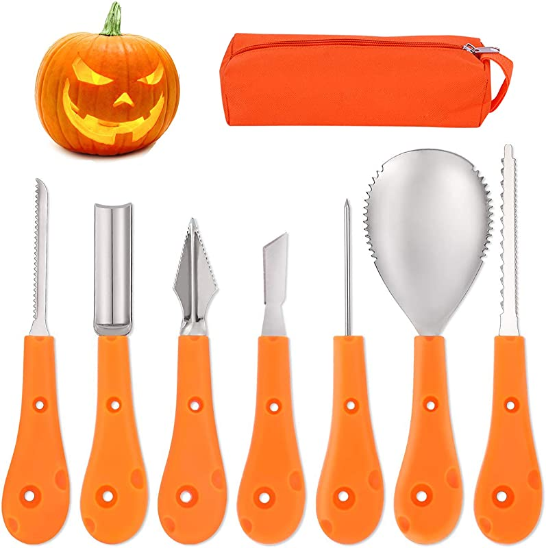 Apark Halloween Newest Halloween Pumpkin Carving Kit 7 Piece Professional Stainless Steel Pumpkin Carving Easily Carve Sculpt Halloween Lanterns Decoration Set For Kids And Adults With Carrying Bag