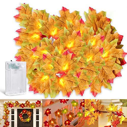 LEAMER - Guirnalda de hojas iluminadas de arce, funciona con pilas, para otoño, Halloween, Navidad, picnic, decoración al aire libre