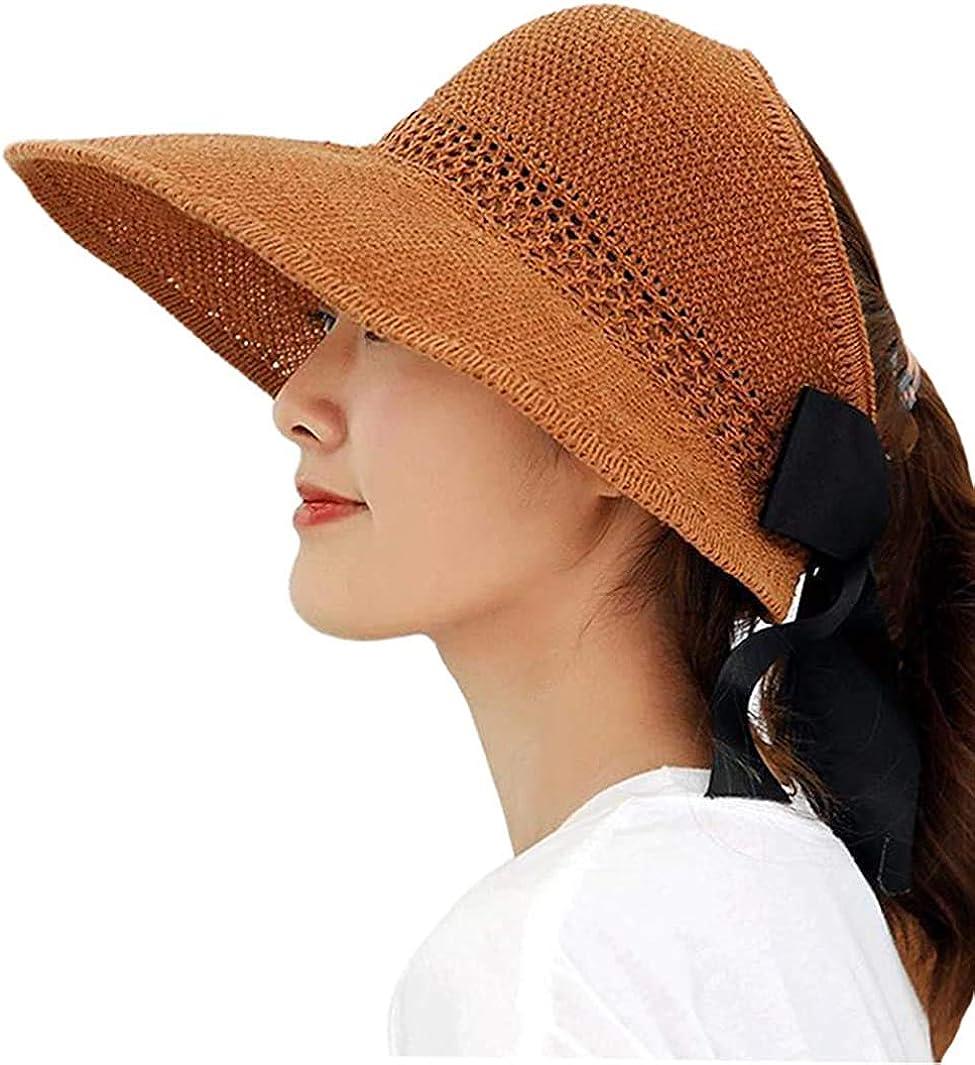 Beach Foldable Straw Wide Brim Travel Caps Sun Visor Hat UPF 50+ UV with Bow