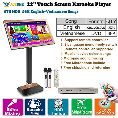 Great Deal! 6TB HDD,98K Vietnamese+ English 22'' Touch Screen Karaoke Player,Microphone Input, Sound...
