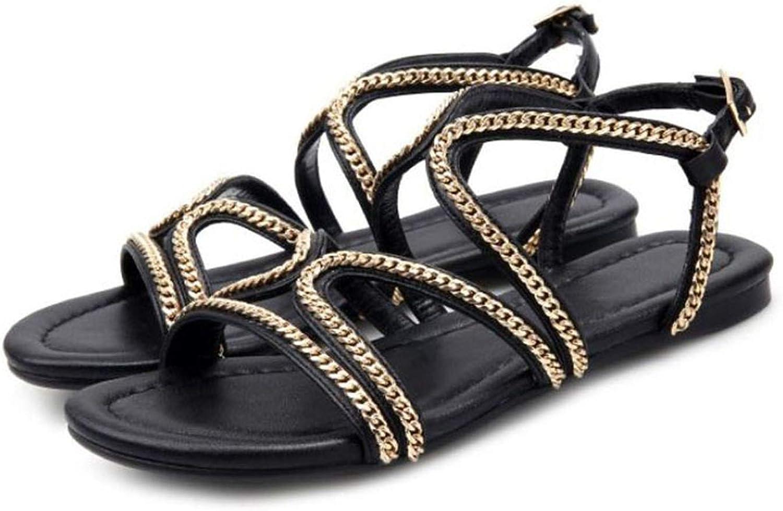 Old street Women Genuine Leather Flats Sandals Open Toe Back Sandals Summer Leisure shoes Women