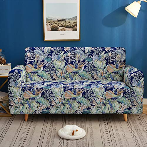 YZDM Printed Stretch Sofa Covers Flying Birds with Flower Sofa Cover, Durable Couch Cover Fitted Furniture Protector, for Loveseat/Sofas/Sectional (A1 Seater)