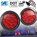 AutoSmart 4' Round LED Stop Turn Tail Light Includes Pair Light Red Lens, Grommet, Plug For Truck Trailer