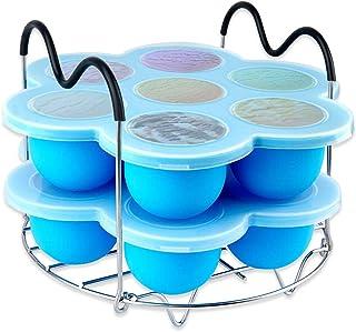 Silicone Egg Bites Molds for Instant Pot Accessories,Including Steamer Rack Trivet with Heat Resistant Handles.Versatile Egg Poachers Set for 6qt & 8qt Electric Pressure Cooker 2 PACK-Blue