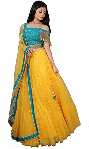 NPLASH FASHION Women's Net Semi-stitched Lehenga Choli (roop yellow-a_Blue & Yellow_Free Size)