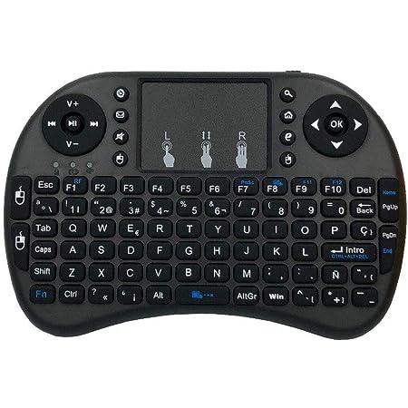 CXZC Mini i8 2.4GHz Teclado inalámbrico español (QWERTY), RGB ...