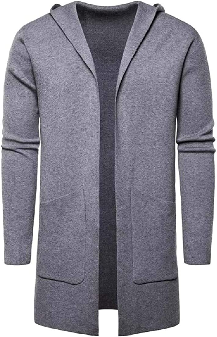 Men's Long Cardigan Sweater Hooded Knit Slim Fit Open Front Longline Cardigans with Pockets