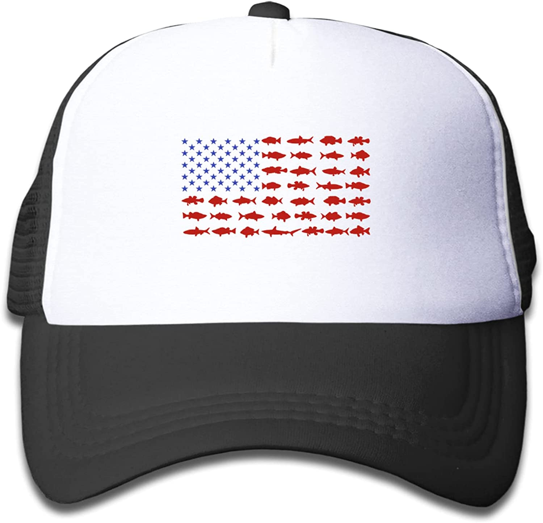 Fish Flag Baseball Hat Trucker Boys Girls Elastic Mesh Hat Kid Printing Patriotic Sharks American Flag Cap