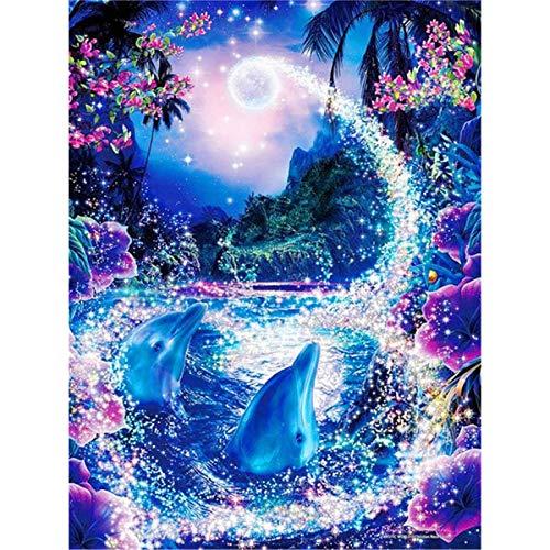 Sunnay Diamond Painting Set, 5D Diamant Painting Set Full Stickerei Groß Bilder DIY Diamonds Malerei,Feenhafte Delphine,30x40cm