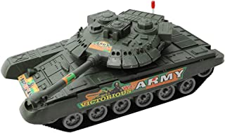 STOBOK Inertial Tank Toy Army Truck Toys Tank Model Educational Learning Toy for Kids Child Boys Girls Gift (Army Green)