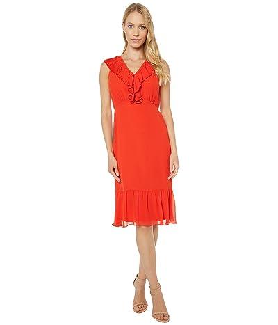 Sam Edelman Mini Pleat Neckline Dress (Coral) Women