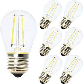 6X Bombillas de Filamento Globo LED G45 E27 2W Blanco frío 6500K Diametro 45MM Equivalencia Bombillas Incandescentes 20W