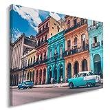 Feeby. Cuadro en lienzo - 1 Parte - 80x120 cm, Imagen impresión Pintura decoración Cuadros de una pieza, CUBA, ARQUITECTURA, AZUL