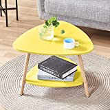 BonChoice 2-Tier Triangle Yellow <span class='highlight'>Simple</span> Coffee <span class='highlight'>Table</span> Sofa Side <span class='highlight'>Table</span> for Living Room, Modern <span class='highlight'>Simple</span> End <span class='highlight'>Table</span> <span class='highlight'>Bedside</span> Wooden for Small Space