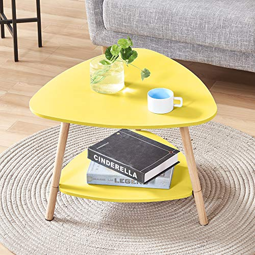 BonChoice 2-Tier Triangle Yellow Simple Coffee Table Sofa Side Table for Living Room, Modern Simple End Table Bedside Wooden for Small Space
