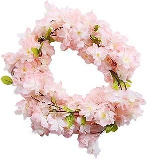 Riuty Artificial Cherry Blossom, Artificial Flower Floral Decor Fake Sakura Vine Flowers for Wedding Backdrop Jungle Decorations 220cm 2Pcs (1#)