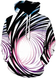 Mens 3D Digital Hoodie Fashion Vortex Printed Long Sleeve Hooded Sweatshirt