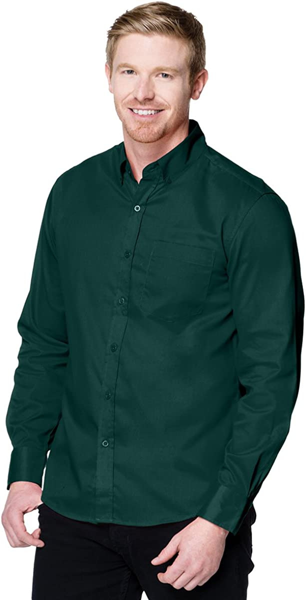 Men Poly/Cotton Button Down Long Sleeve Regal Twill Woven Shirt (8 Color,S-4XLT)