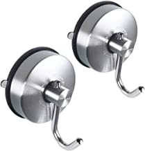 Suction Cup Hooks for Shower Towel Coat Holder Hook Hanger Heavy Duty Removable Bathroom Kitchen Wall Stainless Steel 2 Pack