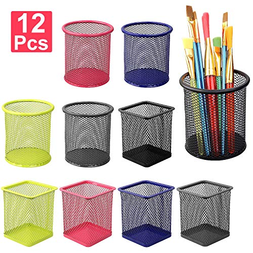 12Pack Mesh Pencil Holders Pen Cup Desktop Organizer, 5 Colors Metal Storage Stationery Container, Round and Square Shape Wire Pot Ruler Case for Desk Office School, (Black Silver Pink Yellow Blue)