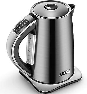 Aicok Bouilloire Électrique Thermostat Réglable, 6 températures préréglées pour Bouilloire à Thé Bouilloire Inox 1.7L, Arr...