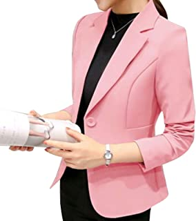 Elonglin Women's Long Sleeve Blazer Suit Jacket Lapel Collar Slim Fitted Casual Office Blazer Suit Jacket