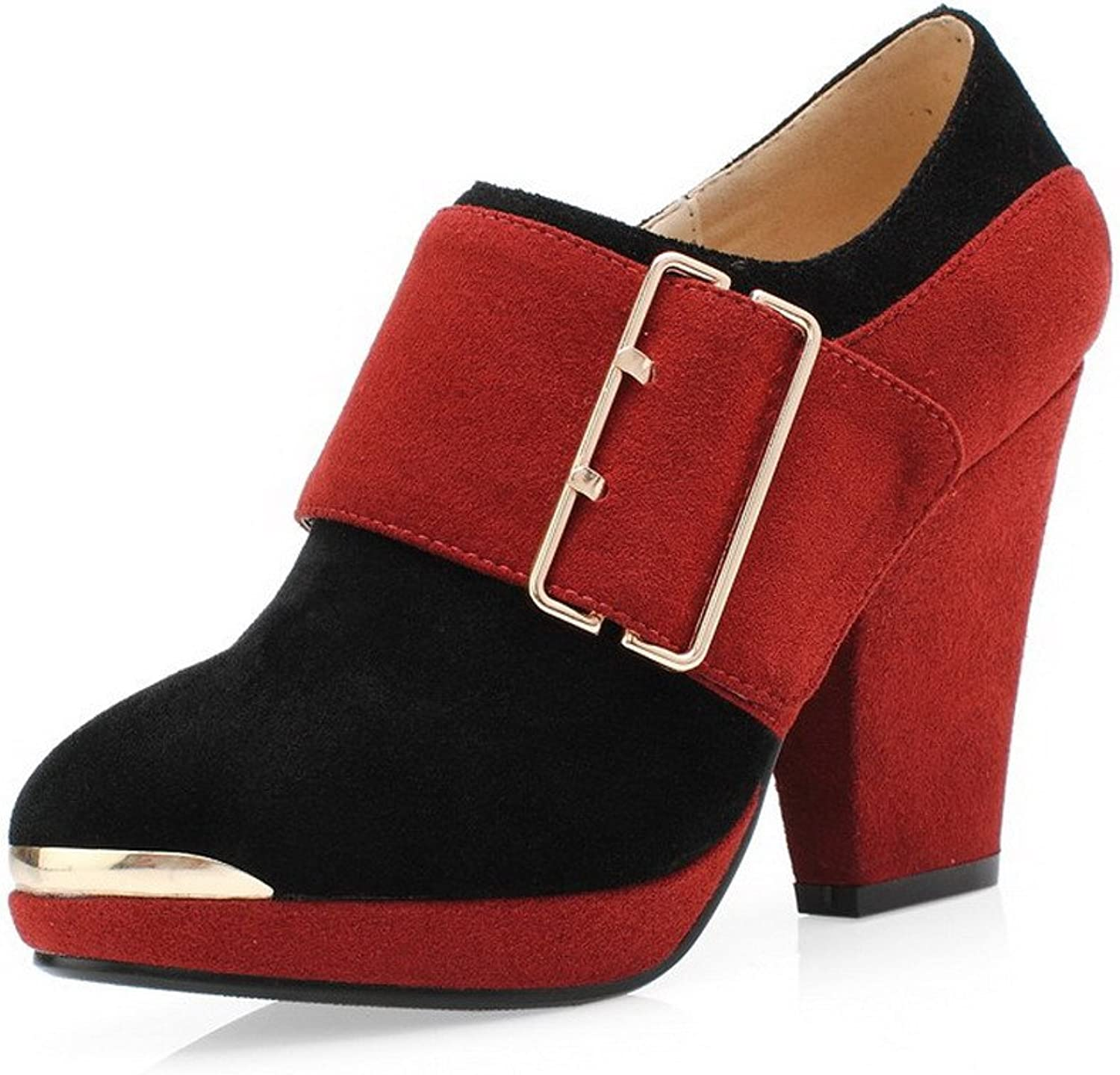 WeenFashion Women's Zipper Cow Imitated Suede High Heels Assorted color Pumps shoes