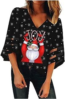 Wadonerful Mesh Tops Women V-Neck Trumpet Sleeves Loose Christmas Santa Claus Print Xmas Shirt Loose Blouse Hole T-Shirt