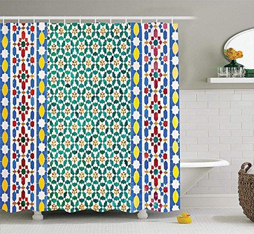 qhtqtt Cortina De Baño Decoración Marroquí Mosaico Marroquí De Colores Muro Medio Oriente Artesanía Vertical Detalles Accesorios De Baño 180X200Cm A