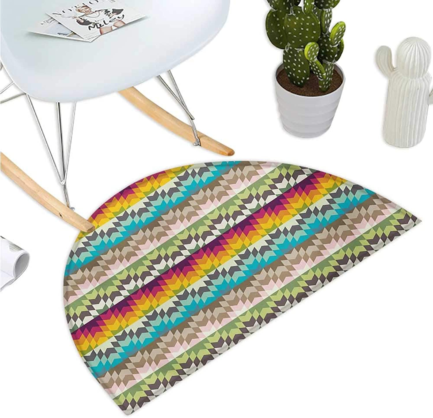 Geometric Semicircle Doormat Ethnic Tribal Pattern with Geometric Primitive Effects in Contrast colors Artwork Halfmoon doormats H 47.2  xD 70.8  Multicolor